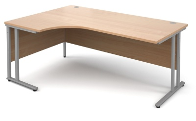 Momentum Next Day Left Hand Corner Desk With A Kbeech Top And Silverf Frame
