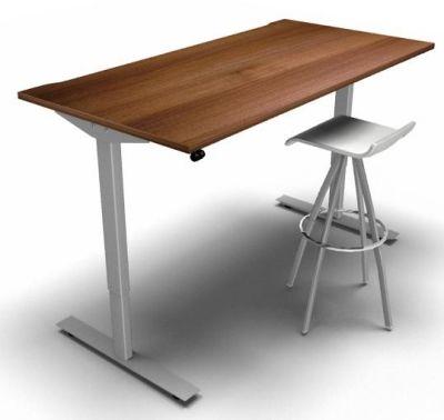 Height Adjustable Desk Walnut Silver Frame Stool 2