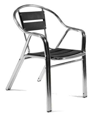 Villa Aluminium Arm Chair Black Slats