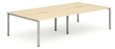 Expand Four Person Bench Desk With A Maple Top And Silver Frame