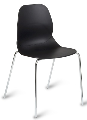 Mackie Chair With A Black Shell And Four Chrome Legs