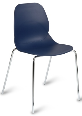 Mackie Chair With A Navy Blue Shell And Chrome Legs