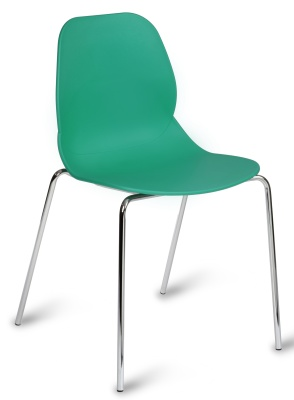 Mackie Chair With A Turquoise Shell And Chromelegs