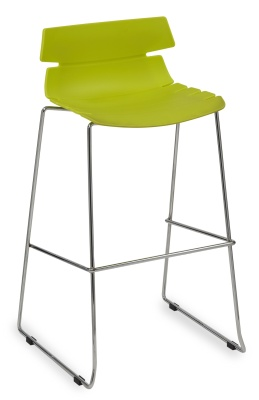 Foxton Designer High Stool With A Lime Green Seat