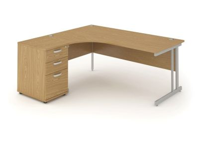 Revolution Left Hand Desk And Pedestal In Oak