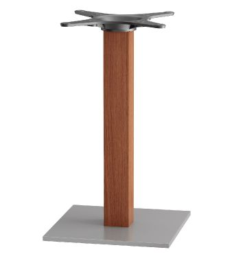 Zeta B1 Square Base Brushed Inox With Sqaure Beech Dining Height Column