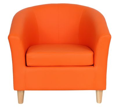 Tritium Tub Chairs With Wooden Feet Orange Front View