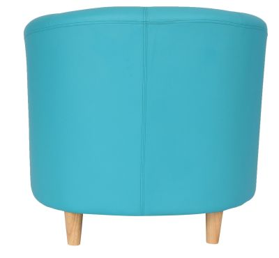 Tritium Tub Chair In Light Blue With Wooden Feet Rear View