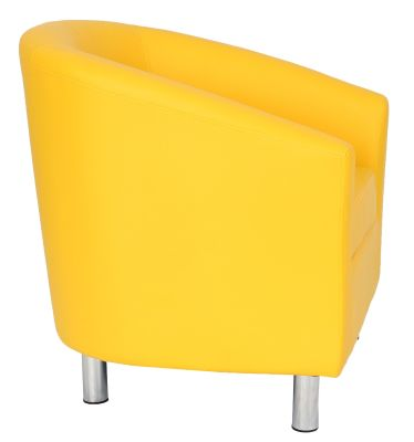 Tritium Yellow Leather Tub Chair Wide View With Chrome Feet