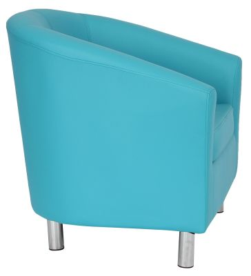 Tritium Light Blue Tub Chairs With Chrome Feet Side View
