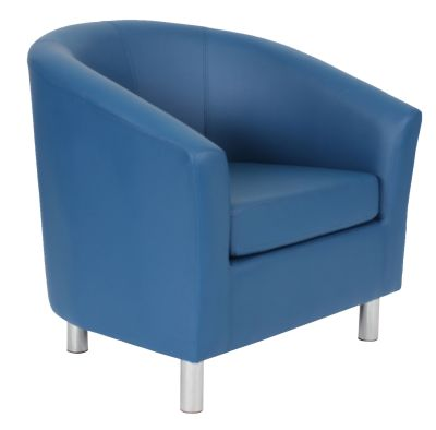 Tritium Tub Chairs In Navy Blue Leather Angle View
