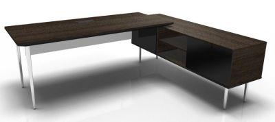Longo Polished And Dark Oak- Glass-Dark With Modesty Panel