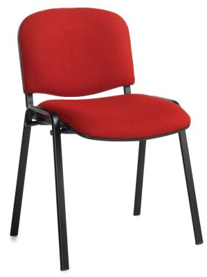 Stakka Confereunce Chair In Brugundy Fabric With A Black Frame