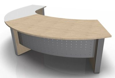 Direction Style Curved Desk And Glass Curved Return RH WO+G 1