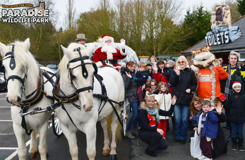 Santa with horse, Carriage and Children logo