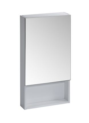400mm single mirror door cabinet white r2 bathrooms for Bathroom cabinets 400mm