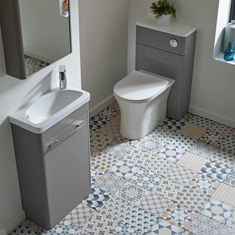 Contour Single Door Cabinet Stone Grey R2 Bathrooms