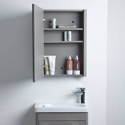 Contour Single Door Cabinet - Stone Grey