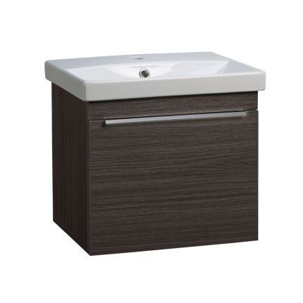 Type 500mm Wall Mounted Wash Unit & Basin - Basalt wood