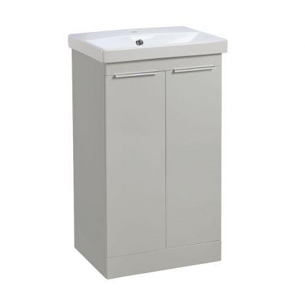 Type 500mm Freestanding Wash Unit & Basin - Light Grey