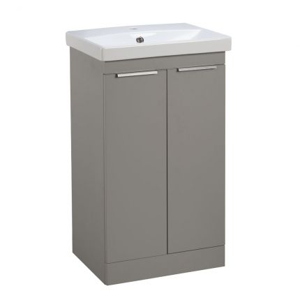 Type 500mm Freestanding Wash unit & Basin - Stone Grey