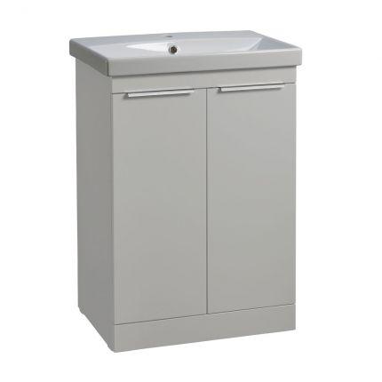 Type 600mm Freestanding Wash Unit & Basin - Light grey