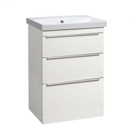 Type 600mm Freestanding Drawer Wash unit & Basin - Gloss White