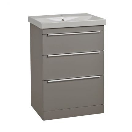 Type 600mm Freestanding Drawer Wash Unit & Basin - Stone Grey