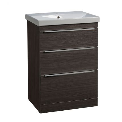 Type 600mm Freestanding Drawer Wash Unit & Basin - Basalt Wood