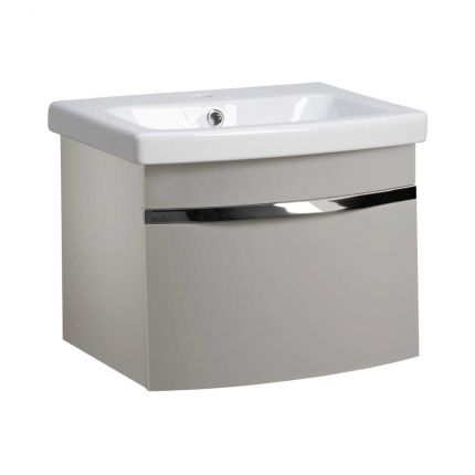 Plan 500mm Wall Mounted Wash Unit & Basin - Light Grey