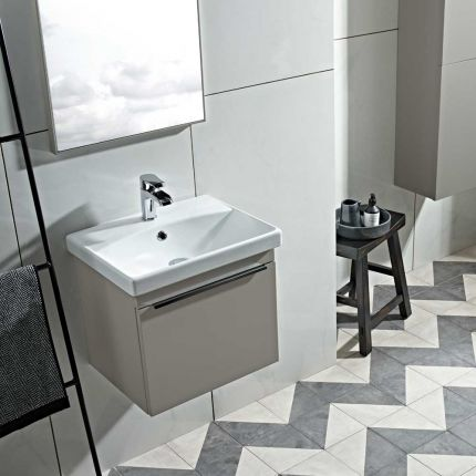 Type 500mm Wall Mounted Wash Unit & Basin - Stone Grey