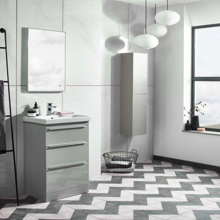Type 600mm Freestanding Drawer Wash Unit & Basin - Light Grey
