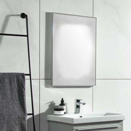 500mm Framed mirror - Light grey