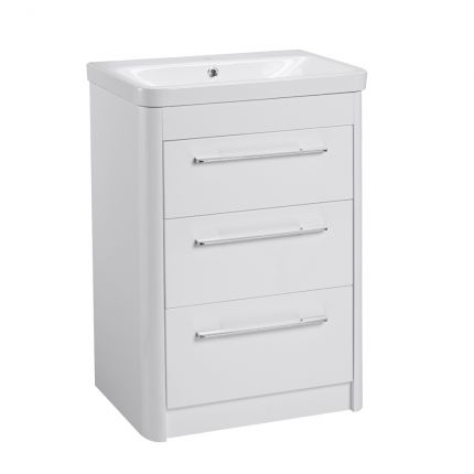 Contour Freestanding 3 Drawer Wash Unit- Gloss White Finish