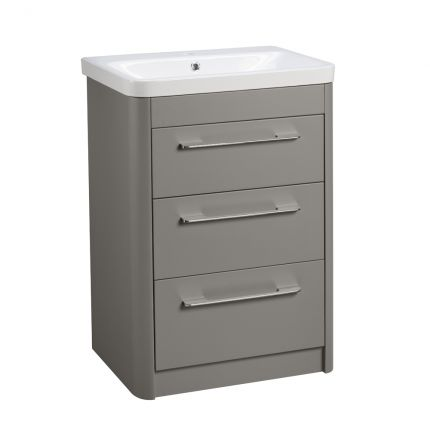 Contour Freestanding 3 Drawer Wash Unit- Stone Grey