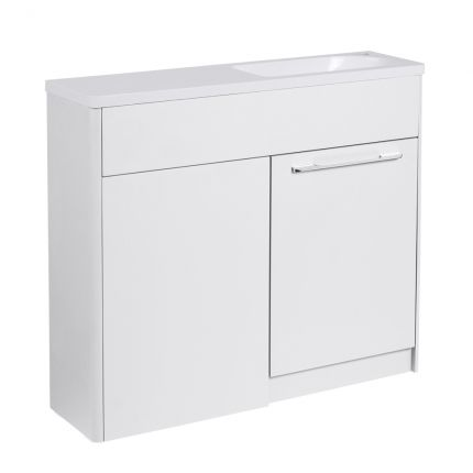 Contour 1000mm Freestanding Furniture Run- Gloss White- Right