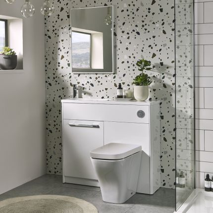 Contour 1000mm Freestanding Furniture Run- Gloss White- Right