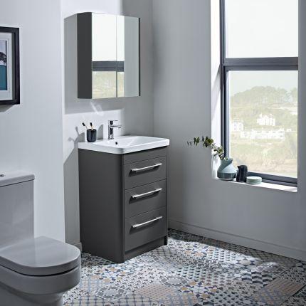 Contour Freestanding 3 Drawer Wash Unit - Anthracite