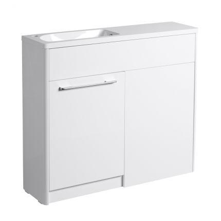 Contour 1000mm Freestanding Furniture Run- Gloss White- Left