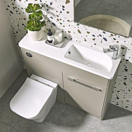 Contour 1000mm Freestanding Furniture Run- Stone Grey- Left