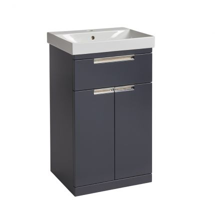 Platform 500mm Freestanding Wash Unit- Midnight Grey