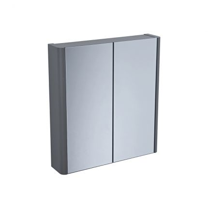 600mm Double Door Mirrored Cabinet- Stone Grey