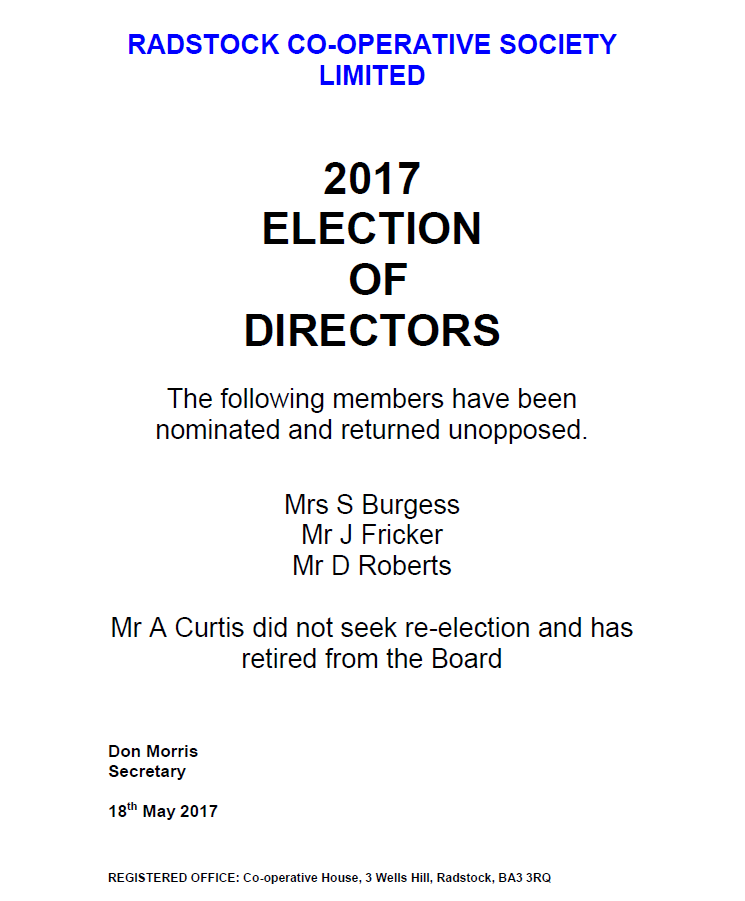 Election Of Directors 2017