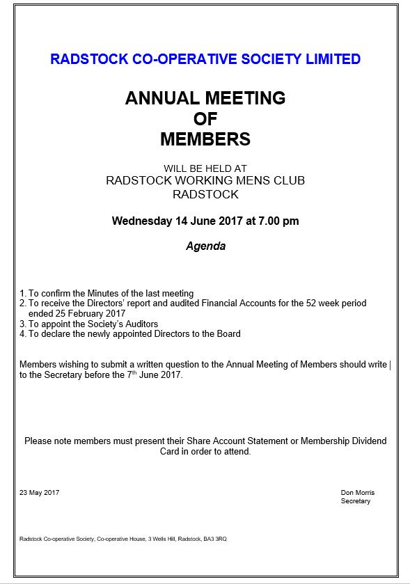 2017 Annual Meeting Of Members