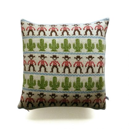 sally nencini Cowboys and cactus cushion