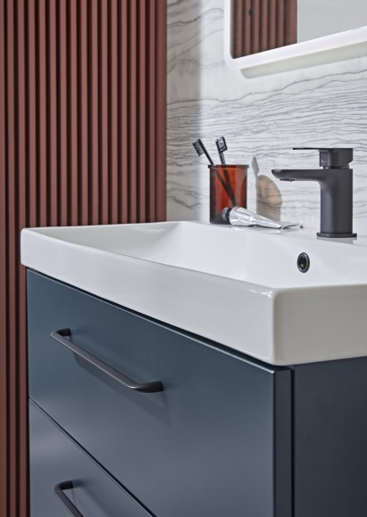 Cadence 800mm unit oxford blue with ceramic basin lifestyle 72dpi