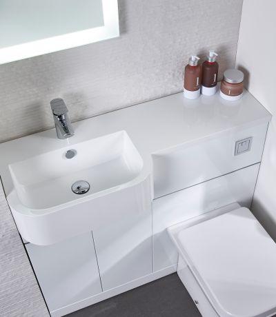 Match 1000mm Furniture Run Left - Gloss White