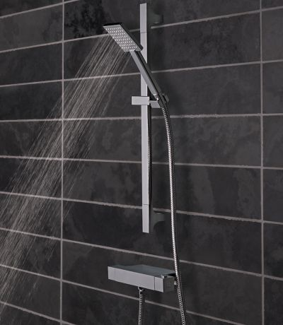 Index Thermostatic Bar Valve and Accessory shelf with Single Function Shower Handset