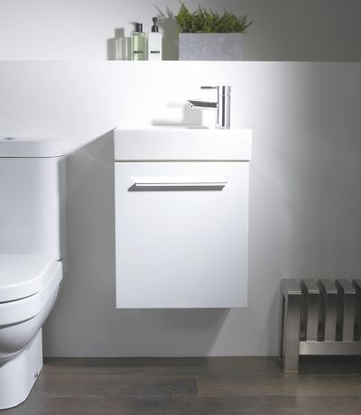 Kobe 450mm Wall Mounted Unit with Basin - Gloss White