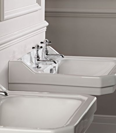 Vitoria 605mm Basin & Pedestal (2 tap holes)